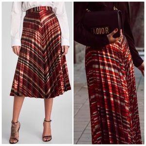 🆕 Zara Metallic Chevron Pleated Midi Skirt - S